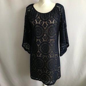 Tacera Navy Blue Crochet/Cream Underlay Dress